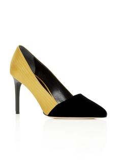 Oscar de la Renta Women's Color-Block Moir� & Velvet Pointed Toe Pumps