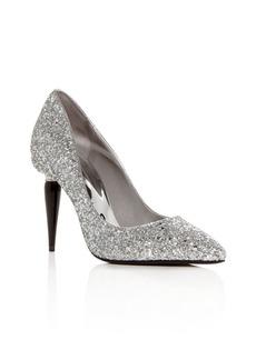 Oscar de la Renta Women's Mariacarla Glitter Paintbrush Heel Pumps