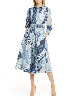 Oscar de la Renta Woodblock Print Long Sleeve Poplin Midi Shirtdress