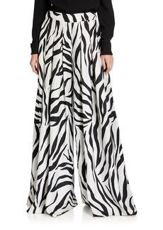 Oscar de la Renta Zebra-Print Oversized Pants