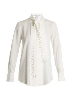 Oscar De La Renta Zigzag-trimmed silk-blend georgette blouse