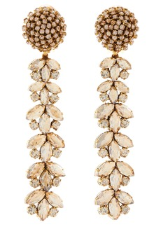 Oscar de la Rental Crystal Flower Linear Drop Earrings