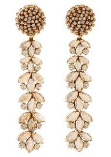 Oscar de la Rental Crystal Flower Linear Drop Earrings