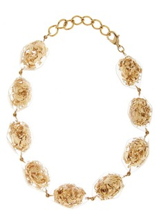 Oscar de la Rental Golden Flake & Resin Collar Necklace