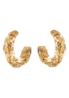 Oscar de la Rental Golden Flake & Resin Hoop Earrings