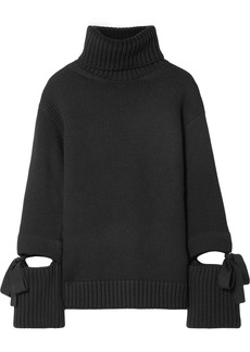 Oscar de la Renta Oversized Tie-detailed Wool Turtleneck Sweater
