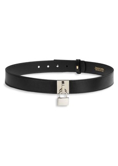 Oscar de la Renta Padlock Leather Belt