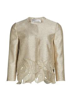 Oscar de la Renta Palm Leaf Embroidered Sequin Tweed Jacket