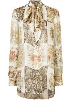 Oscar de la Renta panelled floral print shirt