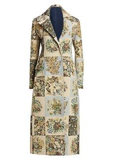 Oscar de la Renta Patchwork Floral Long Coat