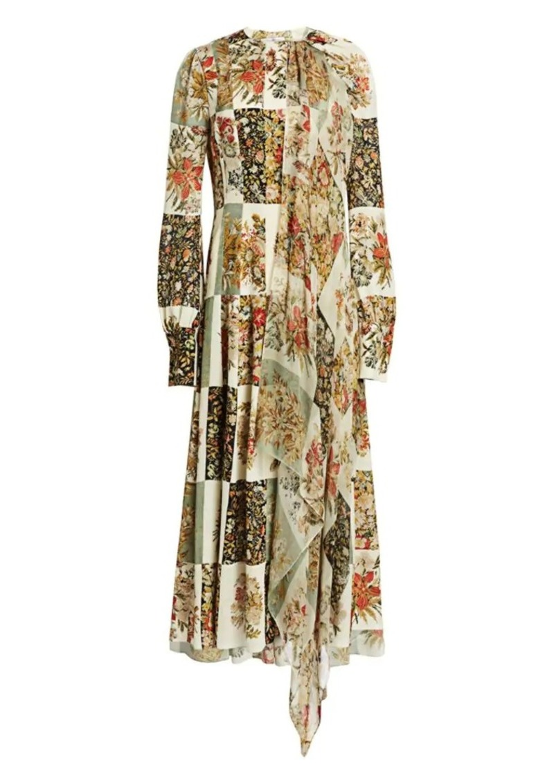 Oscar de la Renta Patchwork Floral Silk Georgette Dress
