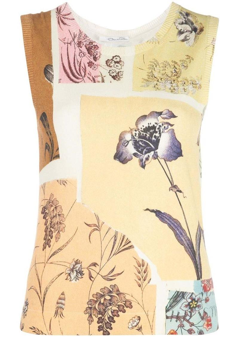Oscar de la Renta patchwork floral vest top