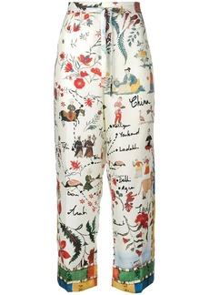 Oscar de la Renta patterned palazzo trousers