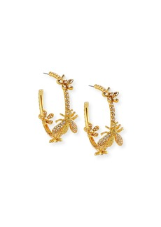 Oscar de la Renta Pave Crystal Garland Hoop Earrings