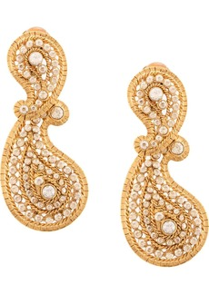 Oscar de la Renta pave paisley earrings