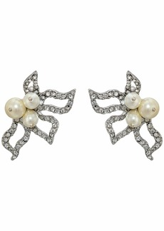 Oscar de la Renta Pave Petal P Earrings