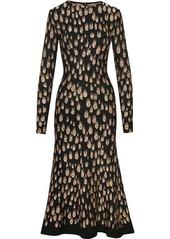 Oscar de la Renta peacock pattern midi dress