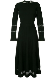 Oscar de la Renta pearled knitted pleated dress