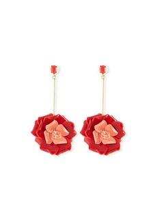 Oscar de la Renta Petunia Long Floral Drop Earrings