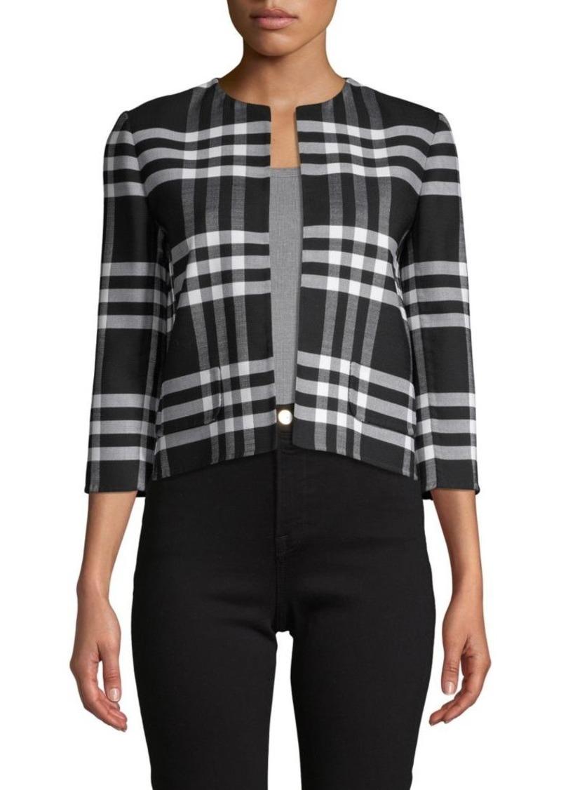 Oscar de la Renta Plaid-Print Wool-Blend Open Jacket