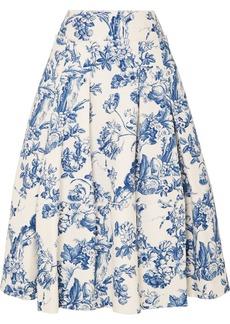 Oscar de la Renta Pleated Floral-print Cotton-blend Midi Skirt