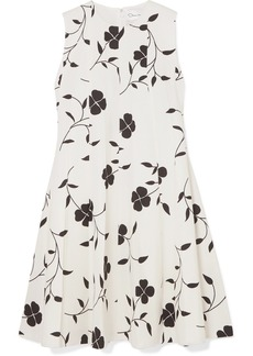 Oscar de la Renta Pleated Floral-print Grain De Poudre Wool-blend Mini Dress