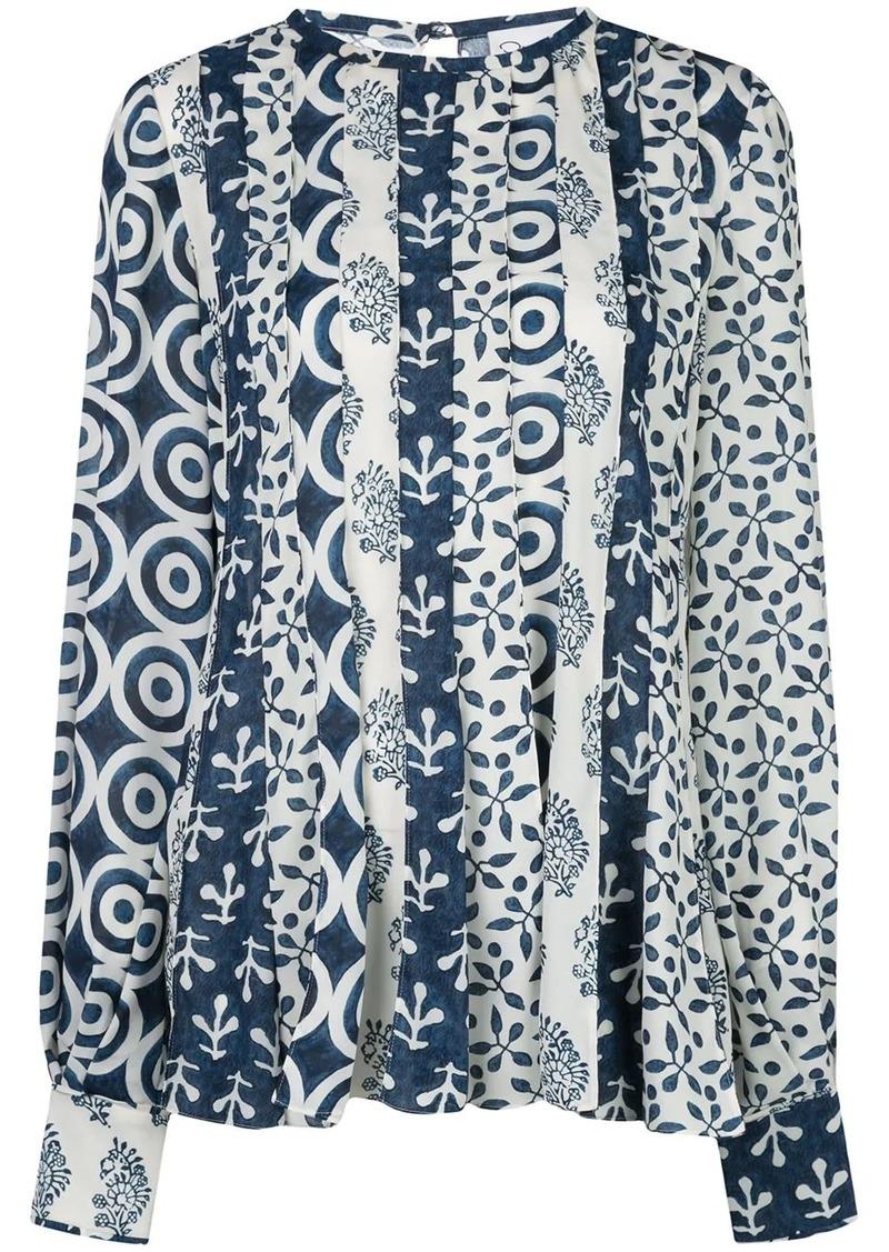 Oscar de la Renta woodblock print blouse