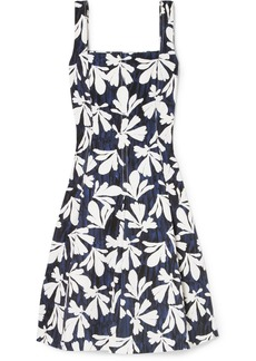 Oscar de la Renta Pleated Printed Stretch-cotton Dress