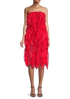 Oscar de la Renta Pleated Ruffle Silk Dress