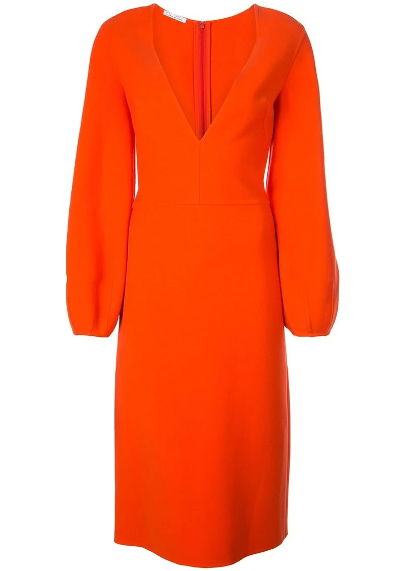 Oscar de la Renta plunge neck midi dress
