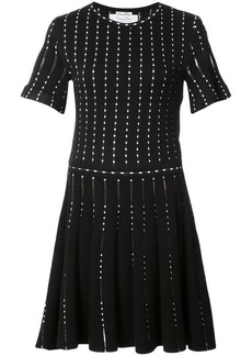 Oscar de la Renta polka-dot embroidered knitted mini dress