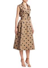 Oscar de la Renta Polka Dot Sleeveless Wrap Belted A-line Dress