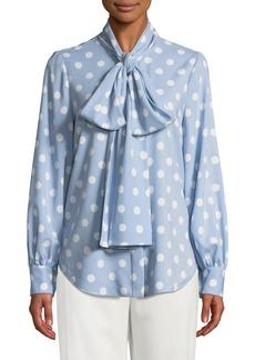 Oscar de la Renta Polka-Dot Tie-Neck Button Front Blouse