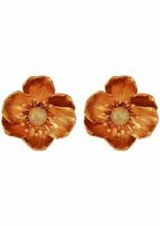 Oscar de la Renta Poppy Flower Clip Earrings