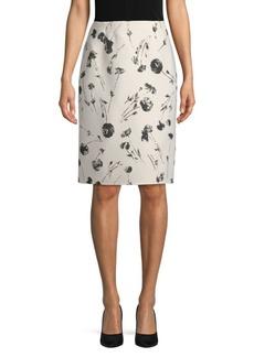 Oscar de la Renta Printed Pencil Skirt