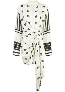 Oscar de la Renta printed ruched shirt dress