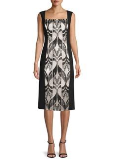 Oscar de la Renta Printed Sleeveless Knee-Length Dress