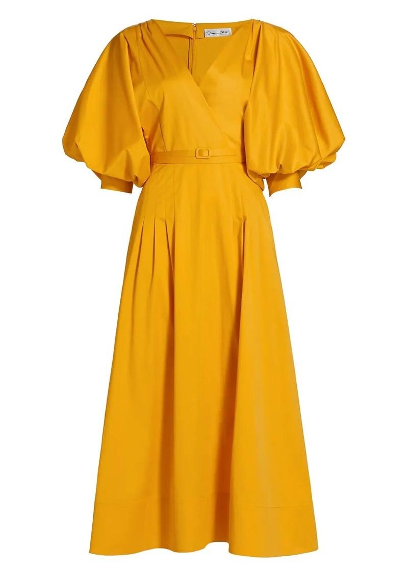 Oscar de la Renta Puff-Sleeve Belted Midi Dress