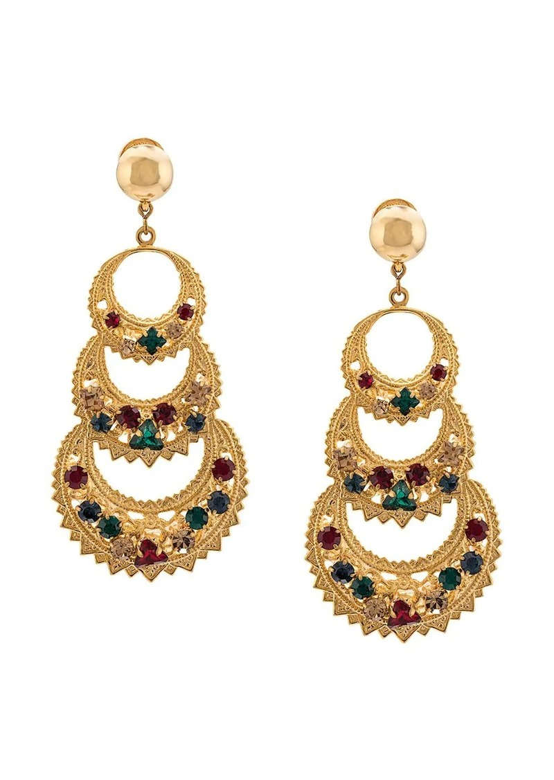 Oscar de la Renta rhinestone embellished earrings