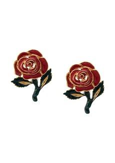 Oscar de la Renta rose drop earrings