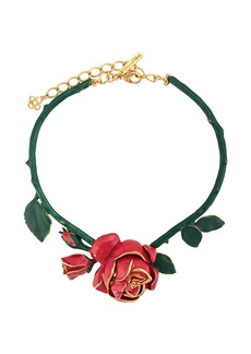 Oscar de la Renta rose ornament necklace