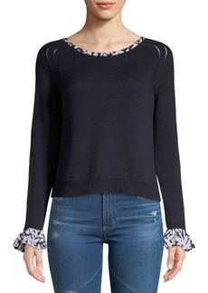 Oscar de la Renta Ruffle Long-Sleeve Wool Top