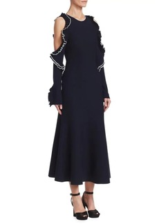 Oscar de la Renta Ruffle Wool-Knit Midi Cocktail Dress