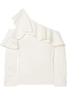 Oscar de la Renta Ruffled One-shoulder Stretch-silk Crepe Top