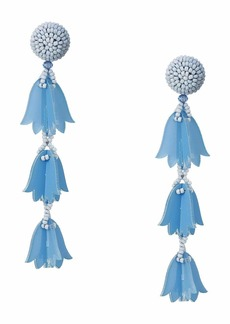 Oscar de la Renta Runway Beaded Bellflower Drop P Earrings
