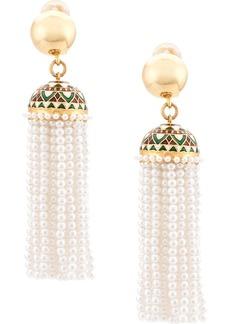 Oscar de la Renta Runway long beaded tassel earrings