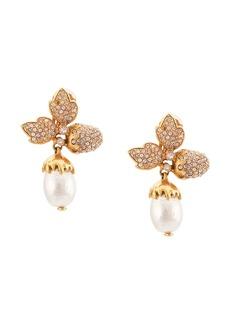 Oscar de la Renta Runway pave leaf acorn earrings