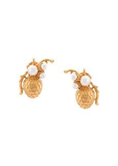 Oscar de la Renta Runway pearl pinecone earrings
