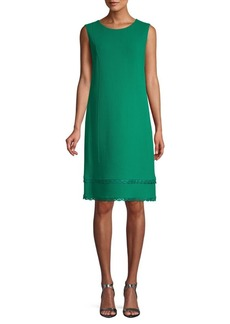 Oscar de la Renta Scalloped Sleeveless Shift Dress