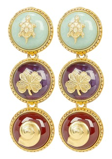 Oscar de la Renta Semi Precious Disk Earrings
